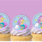 Little Mermaid circle EDIBLE cupcake cake toppers stand up birthday
