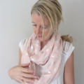 Soft Pink Infinity Scarf with Silver Feathers