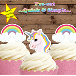 12 x Unicorn and Rainbows  EDIBLE cupcake cake toppers stand up birthday