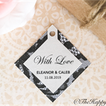 25 x Premium lace  customised wedding thank you tags, twin layer