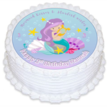 Little Mermaid Edible Wafer Cake Topper Circle Personalized