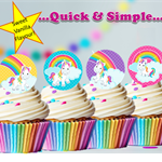 Circle Unicorn and Rainbows  EDIBLE cupcake cake toppers stand up birthday