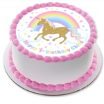 Unicorn and Rainbow Edible Wafer Cake Topper Circle Personalized
