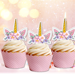 12x Unicorn Ears Horn  EDIBLE cupcake cake toppers stand up birthday