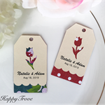 25 x Tulip and scalloped customised wedding thank you tags, twin layer