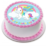 Cute Bright Unicorn and Rainbow Edible Wafer Cake Topper Circle Personalized