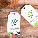 25 x Leaf and scalloped customised wedding thank you tags, twin layer