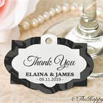 25 x Premium velvet and metallic highlights customised wedding thank you tags