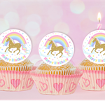 Gold Unicorn and Rainbow circle EDIBLE cupcake cake toppers stand up birthday
