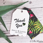 25 x Scalloped customised wedding thank you tags, twin layer