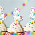Cute Unicorn and Rainbows  EDIBLE cupcake cake toppers stand up birthday
