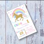 Unicorn Rainbow Invite Invitation Baby Shower Party 1st Girl Birthday 2nd 4th