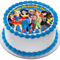 Superhero Girls Edible ICING Personalized Circle Cake Topper