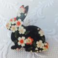 Black Floral Print Wooden Rabbit Brooch