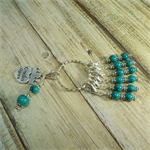 CROCHET Stitch Markers Stitch Counter Crochet Queen Set of 6 Teal Glass Beads