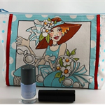 Make up / accessories bag / gift bag - quirky lady, blue dots and flowers