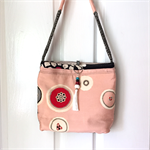 Handcrafted kimono fabric handbag with beaded tassel- peach black white shibori