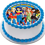 Superhero Girls Edible Wafer Cake Topper Circle Personalized