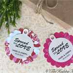 25 x Round customised wedding thank you tags, twin layer, reversible design