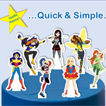 Superhero Girls EDIBLE cupcake cake toppers stand up birthday