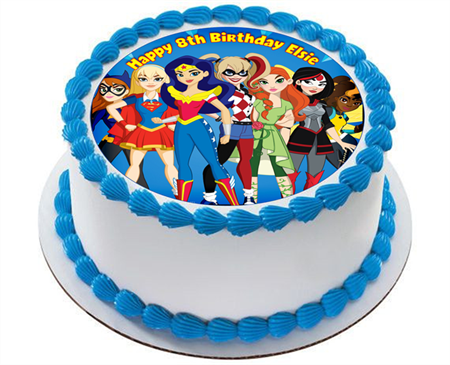Superhero Girls Edible ICING Personalized Circle Cake Topper