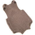 Brown/Latte Baby Romper -  Size 3-6 months - hand knitted in pure wool