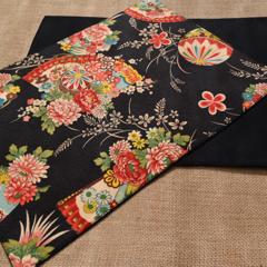 Placemat - Set of 4, 6 & 8 - Kimono Fan - Black