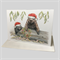 Christmas Card with Wombat family, santa hats, gum tree leaves, Christmas wreath