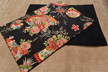 Black Placemat - Set of 4 - Kimono Fan