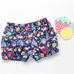 Colourful Unicorns, Rainbows baby girls  bloomer, flexi shorts / nappy cover