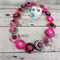 Pink Black and White - Button Necklace - Earrings