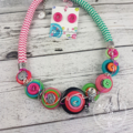 Mixed Stripes - Button Fusion Necklace - Button Jewellery - Earrings