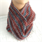 Pure Wool Infinity Loop Scarf Cowl Burgundy Blue Lacy Gift for Her