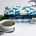 Eye Pillow, Lavender and Flax Seed Eye Pillow - Moody Blues Indigo Butterflies S