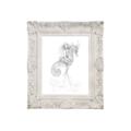 8x10 PRINT Mermaid Riding Seahorse Graphite Drawing Art
