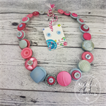 Powder Blue and Pretty Pink - Button Necklace - Earrings