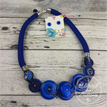 Blue Sky - Button Fusion Necklace - Button Jewellery - Earrings