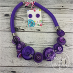Purple - Button Fusion Necklace - Button Jewellery - Earrings