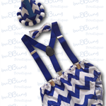 Royal Blue Chevron Boys Cake Smash / 1st Birthday Outfit