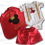 Red Mickey Prince Boys Cake Smash / 1st Birthday Outfit - 4 Piece Set