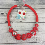 Red and Silver - Button Fusion Necklace - Button Jewellery - Earrings