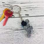Resin Keyring - Stripes Buttons - Bag Tag - Luggage Identifier - Rectangle