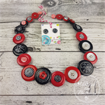 Classic Spots and Stripes - Red Black white- Button Necklace - Earrings