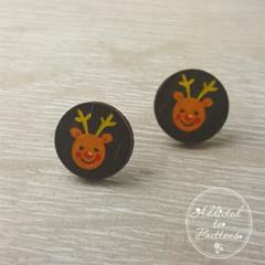 Christmas - Reindeer Rudolph Red Nose - Stud Earrings
