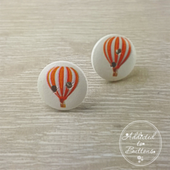 Hot Air Balloon - Orange  - Two Hole Button - Stud Earrings
