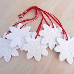 White Christmas snowflake decorations. Ceramic ornaments. Teachers gift.