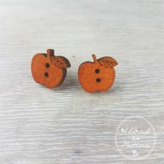 Apple for the Teacher -  Wood - Button - Stud Earrings