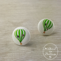 Hot Air Balloon - Green  - Two Hole Button - Stud Earrings