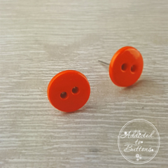 Orange Two Hole Button - Stud Earrings