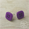 Purple Square - Four Hole - Button - Stud Earrings